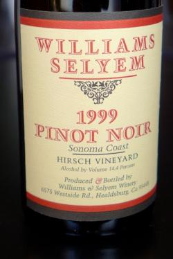 "Sonoma Coast Pinot Noir ""Hirsch Vineyard"", Williams Selyem 1999"