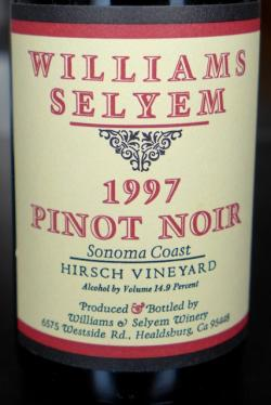 "Sonoma Coast Pinot Noir ""Hirsch Vineyard"", Williams Selyem 1997"